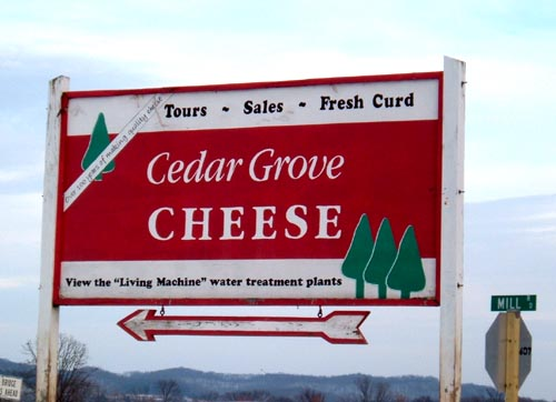 Cedar Grove Cheese sign directs you to the factory.